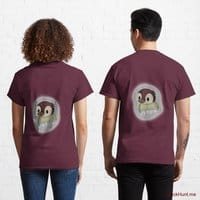 Ghost Duck (foggy) Dark Red Classic T-Shirt (Back printed)