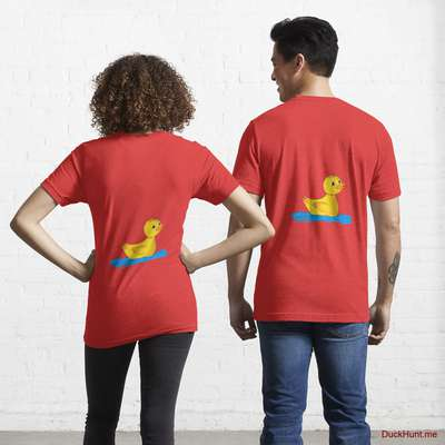 Plastic Duck Red Essential T-Shirt (Back printed) image