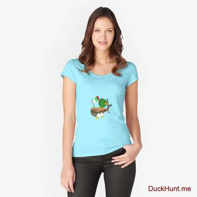 Kamikaze Duck Turquoise Fitted Scoop T-Shirt (Front printed) image