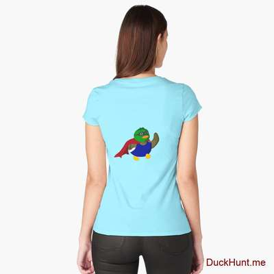 Alive Boss Duck Turquoise Fitted Scoop T-Shirt (Back printed) image