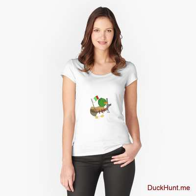 Kamikaze Duck White Fitted Scoop T-Shirt (Front printed) image