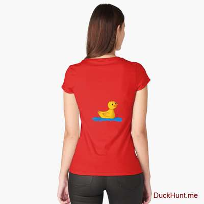 Plastic Duck Red Fitted Scoop T-Shirt (Back printed) image