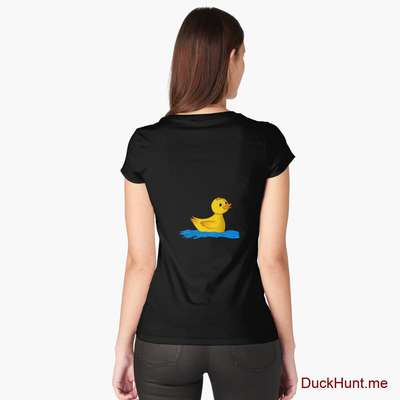 Plastic Duck Black Fitted Scoop T-Shirt (Back printed) image