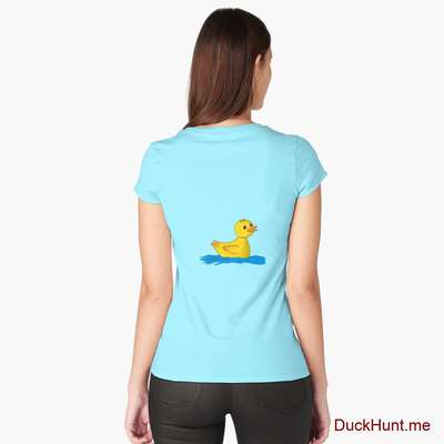 Plastic Duck Turquoise Fitted Scoop T-Shirt (Back printed) image