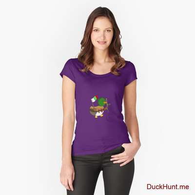 Kamikaze Duck Purple Fitted Scoop T-Shirt (Front printed) image