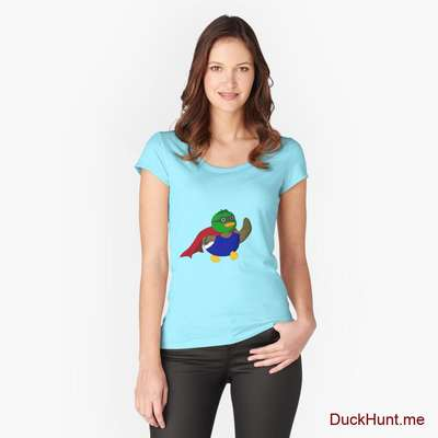 Alive Boss Duck Turquoise Fitted Scoop T-Shirt (Front printed) image