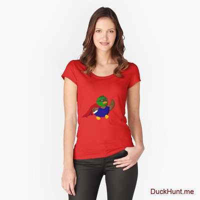Alive Boss Duck Red Fitted Scoop T-Shirt (Front printed) image