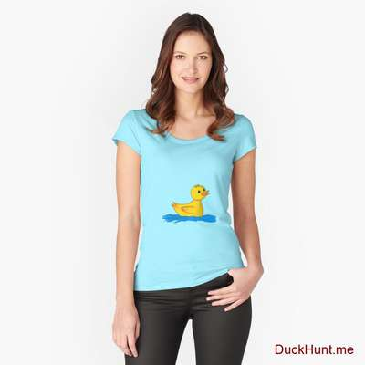 Plastic Duck Turquoise Fitted Scoop T-Shirt (Front printed) image