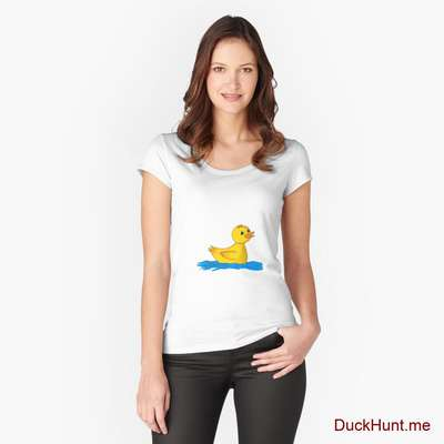 Plastic Duck White Fitted Scoop T-Shirt (Front printed) image
