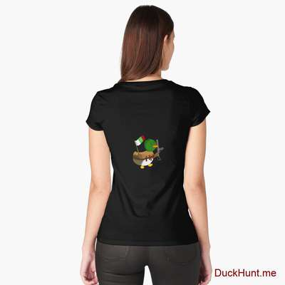 Kamikaze Duck Black Fitted Scoop T-Shirt (Back printed) image