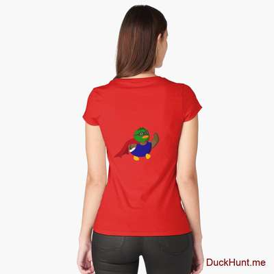 Alive Boss Duck Red Fitted Scoop T-Shirt (Back printed) image