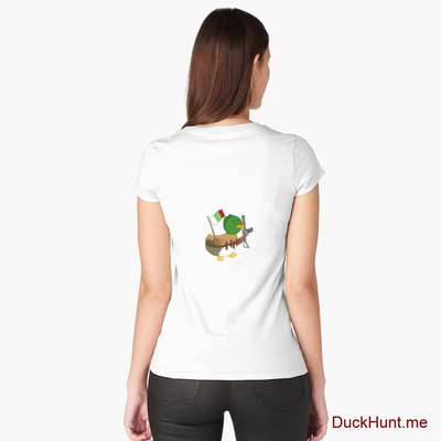 Kamikaze Duck White Fitted Scoop T-Shirt (Back printed) image