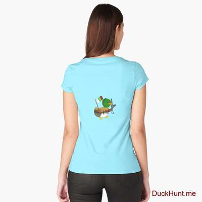 Kamikaze Duck Turquoise Fitted Scoop T-Shirt (Back printed) image