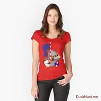 Armored Duck Red Fitted Scoop T-Shirt (Front printed)