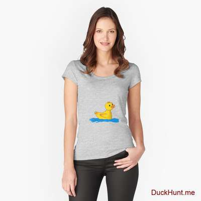 Plastic Duck Heather Grey Fitted Scoop T-Shirt (Front printed) image