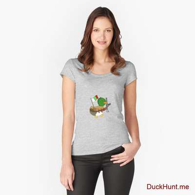 Kamikaze Duck Heather Grey Fitted Scoop T-Shirt (Front printed) image