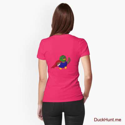 Alive Boss Duck Berry Fitted T-Shirt (Back printed) image
