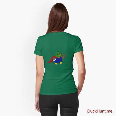 Alive Boss Duck Green Fitted T-Shirt (Back printed) image
