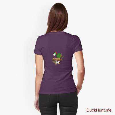 Kamikaze Duck Eggplant Fitted T-Shirt (Back printed) image