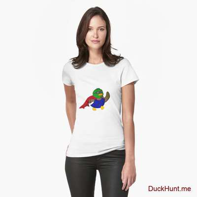 Alive Boss Duck White Fitted T-Shirt (Front printed) image