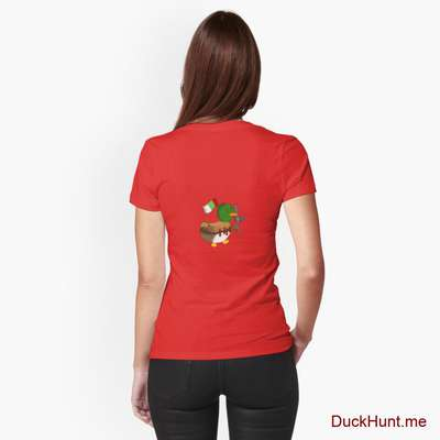 Kamikaze Duck Red Fitted T-Shirt (Back printed) image