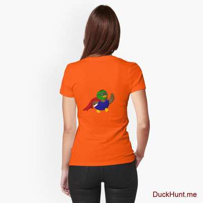 Alive Boss Duck Orange Fitted T-Shirt (Back printed) image