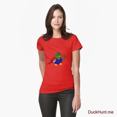 Alive Boss Duck Red Fitted T-Shirt (Front printed) image