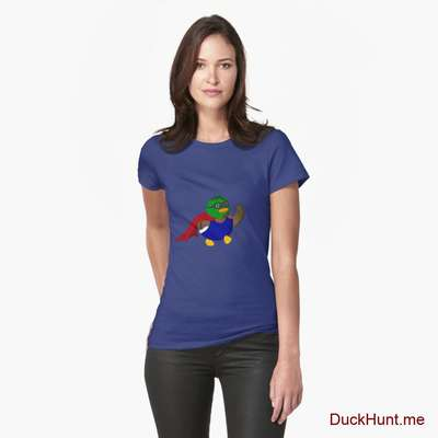 Alive Boss Duck Blue Fitted T-Shirt (Front printed) image