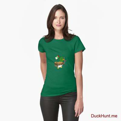 Kamikaze Duck Green Fitted T-Shirt (Front printed) image