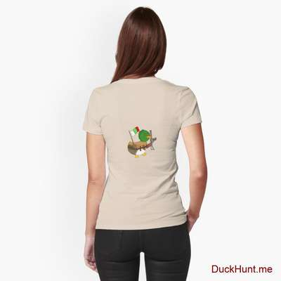 Kamikaze Duck Creme Fitted T-Shirt (Back printed) image