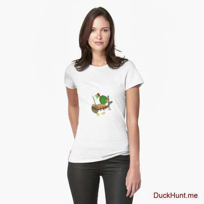 Kamikaze Duck White Fitted T-Shirt (Front printed) image