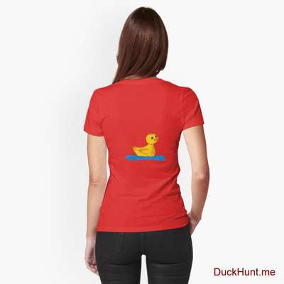Plastic Duck Red Fitted T-Shirt (Back printed) image