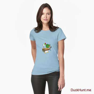 Kamikaze Duck Light Blue Fitted T-Shirt (Front printed) image