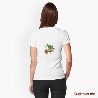 Kamikaze Duck White Fitted T-Shirt (Back printed) image