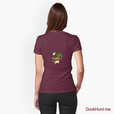 Kamikaze Duck Dark Red Fitted T-Shirt (Back printed) image