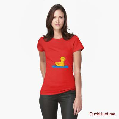 Plastic Duck Red Fitted T-Shirt (Front printed) image