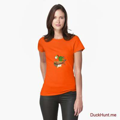 Kamikaze Duck Orange Fitted T-Shirt (Front printed) image