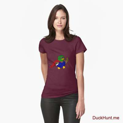 Alive Boss Duck Dark Red Fitted T-Shirt (Front printed) image