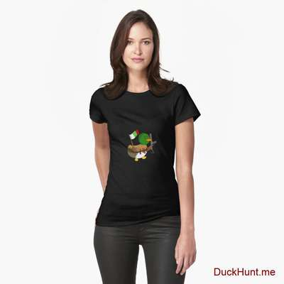 Kamikaze Duck Black Fitted T-Shirt (Front printed) image