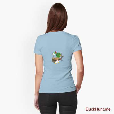 Kamikaze Duck Light Blue Fitted T-Shirt (Back printed) image