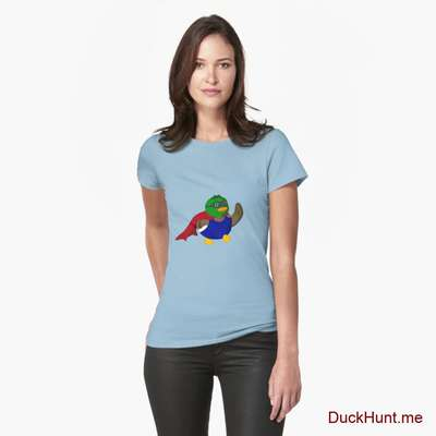 Alive Boss Duck Light Blue Fitted T-Shirt (Front printed) image