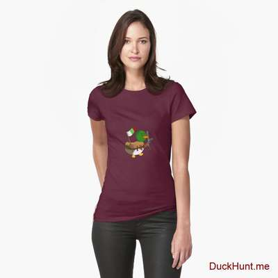 Kamikaze Duck Dark Red Fitted T-Shirt (Front printed) image