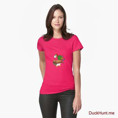 Kamikaze Duck Berry Fitted T-Shirt (Front printed) image