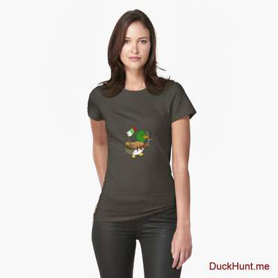 Kamikaze Duck Army Fitted T-Shirt (Front printed) image