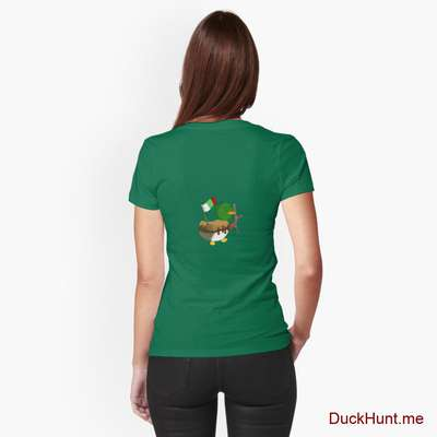 Kamikaze Duck Green Fitted T-Shirt (Back printed) image