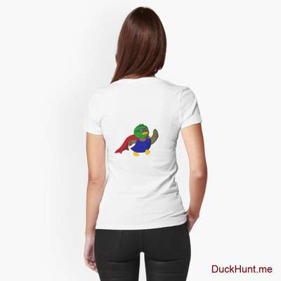 Alive Boss Duck White Fitted T-Shirt (Back printed) image