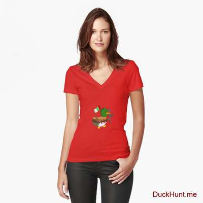 Kamikaze Duck Red Fitted V-Neck T-Shirt (Front printed) image