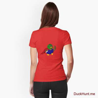 Alive Boss Duck Red Fitted V-Neck T-Shirt (Back printed) image