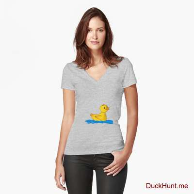 Plastic Duck Heather Grey Fitted V-Neck T-Shirt (Front printed) image