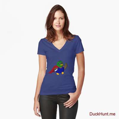 Alive Boss Duck Blue Fitted V-Neck T-Shirt (Front printed) image